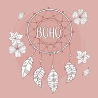 Traumfänger mit Blumen und Federn Boho und Tribal vektor