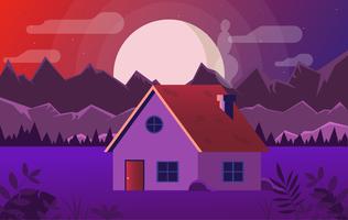Vektor-purpurrote Landschaftsillustration