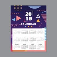 2019 Utskriftsbar kalender vektor