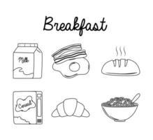 Frühstücksikonen eingestellt, Milchei-Speck-Brot-Müsli-Milch und Croissant-Linienstil vektor