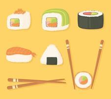 Sushi-Zeitsymbole setzen Stäbchen und verschiedene Sushi-Essen vektor