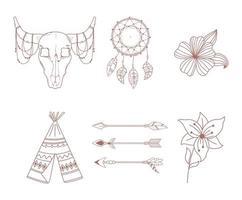 Boho und Tribal Icons Set Pfeil Tipi Stier Schädel Traumfänger und Blumen vektor