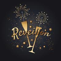 Firande New Year Tema eller Reveillon med Champagne Vin och Fireworks