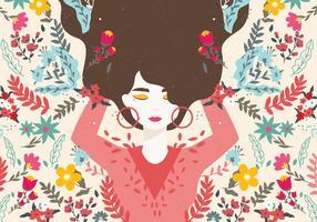 Mädchen mit Blumen Vektor