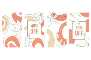 eleganter abstrakter Hintergrund. Social-Media-Banner-Vorlage. botanischer Vektorsatz. Blumenzeichnung mit abstrakter Form. vektor