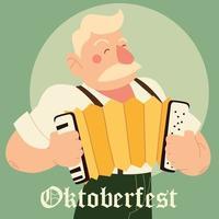 Oktoberfest-Mann-Cartoon mit traditionellem Stoff- und Akkordeonvektordesign vektor