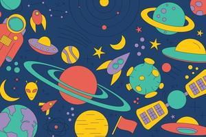 modernes Muster des Planetensternkometen mit verschiedenen Raketen. Universum Strichzeichnungen. vektor