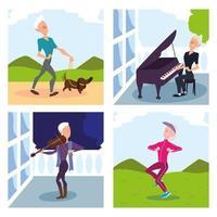 ältere Menschen unternehmen Outdoor-Aktivitäten vektor