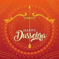 Dussehra Festivalkarte mit goldener Schrift und Dekoration vektor