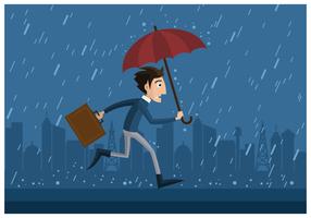 Mann hält Regenschirm vektor