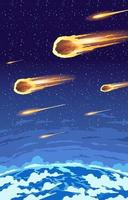 fallender Meteoritenschauer vektor