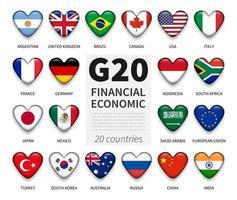 g20 . Gruppe von zwanzig Ländern und Mitgliedsflagge. Internationaler Verband der staatlichen Wirtschafts- und Finanzbehörden. Herzknopf mit glänzendem Glasabdeckungselementdesign. Vektor. vektor