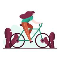 Junge Frau, die Fahrrad-Vektor-Illustration reitet