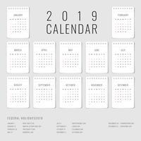 Utskriftsbar kalender 2019 uppsättning med 12 månadsmall