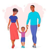 glückliche schwarze Familie, die Händchen hält und Vektorillustration geht vektor
