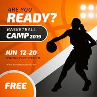 Basketball-Lager-Plakat-Schablone mit weiblichem Spieler-Schattenbild