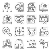 Packung mit linearen Symbolen für den mobilen Browser vektor