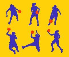 Weibliches Basketball-Spieler-Schattenbild vektor