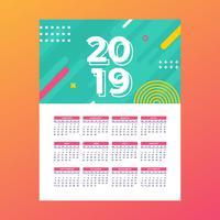 2019 Utskriftsbar kalendervektor