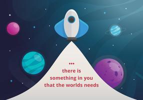 Uppmuntrande kort med positiv text och yttre rymd, planet, stjärnor i kreativa stilar vektor