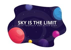 Uppmuntrande kort med positiv text och yttre rymd, planet, stjärnor i kreativa stilar. vektor