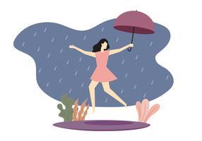 Tjej hoppar på regnig dag vektor