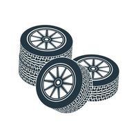 Räder mit Reifen und Rädern. Vektor-Illustration. vektor