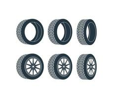 zwei Räder mit Reifen und Rädern. Vektor-Illustration. vektor