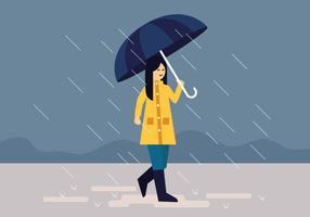 Girl Holding Paraply vektor