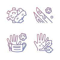 infektiöse Bioabfall-Gradienten-lineare Vektorsymbole eingestellt. Pflanzenpathogene. Abfall, der infizierte Flüssigkeiten enthält. dünne Linie Kontursymbole bündeln. Sammlung von isolierten Vektor-Umriss-Illustrationen vektor