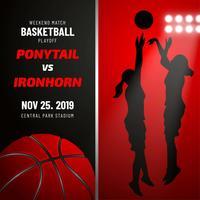 Basketball-Plakat-Schablone mit weiblichem Basketball-Spieler