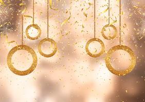 Julbakgrund med guldkonfetti och dekorationer