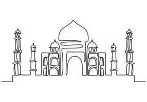 durchgehende Linie von Taj Mahal in Indi. eine einzige Zeile des Taj Mahal in Indien isoliert auf weißem Hintergrund. vektor