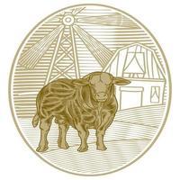 handgezeichnet von Büffel oder Kuh vor der Farm. Niederlande Windmühlenhaus und große Kuh isoliert auf weißem Hintergrund vektor