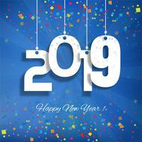 Vacker lyckligt nytt år 2019 text festival bakgrund vektor