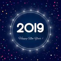 2019 Gott nyår text färgstarka glänsande bakgrund vektor