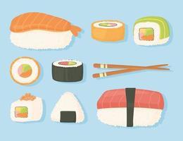 japanisches Essen traditionelles frisches Sushi und Stäbchen-Design vektor
