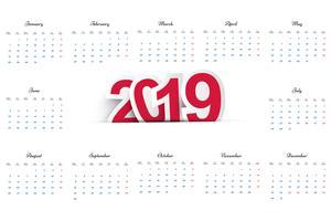 Vacker 2019 affärskalender design
