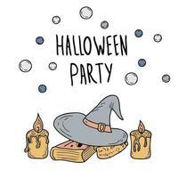 Fröhliche Halloween-Zeichnung von Zaubererhut mit handgezeichneter Vektorillustration der Aufschriftgekritzelart vektor