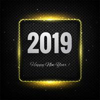 Gott nytt år 2019 kort firande färgstark bakgrund vektor