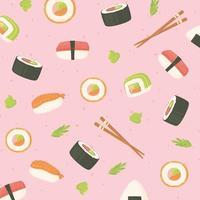 Sushi Meeresfrüchte Rollen Stäbchen japanische Esskultur Hintergrund vektor