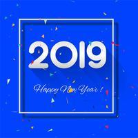 Celebration 2019 färgstarkt lyckligt nytt år bakgrund vektor