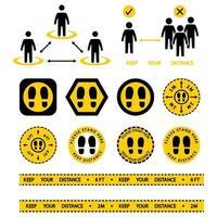 hier stehen zeichen. Symbol für soziale Distanzierung. Halten Sie den Abstand von 2 Metern oder 6 Fuß ein. Menschenmassen vermeiden. Sicherheitsabstand. auseinander gelbes Klebeband Warnung. Fußabdruck-Bodenaufkleber, hier stehen. Vektor