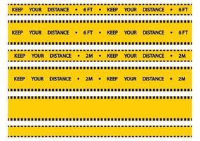 Warnband zur sozialen Distanzierung. Halten Sie Abstand. auseinander gelbes Klebeband Warnung. Halten Sie in der Warteschlange einen Sicherheitsabstand von 2 Metern ein. Menschenmassen vermeiden. Vektor