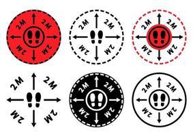 Halten Sie Abstand. zur Verhinderung der Ausbreitung der Infektion. Symbole der Füße der Menschen im Kreis, Richtungspfeile und mit Schriftzug 2 Meter nach innen. Abstand halten, hier stehen. Vektor