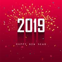 Elegant 2019 gott nytt år färgstarkt kort design vektor