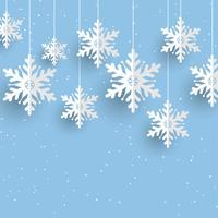Weihnachtshintergrund mit hängenden Schneeflocken