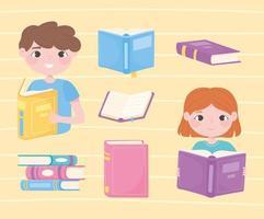 Mädchen und Junge lesen Bücher, öffnen Lehrbücher literarisch akademisch und lernen vektor