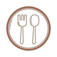 Restaurant Gabel und Löffel Besteck Zeichen Symbol in brauner Linie vektor