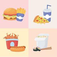 Fast Food, Set mit Burger Pommes Frites Pizza Soda Sushi und Hühnchen vektor